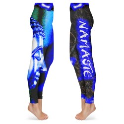 Black and Blue Namaste Buddha Leggings