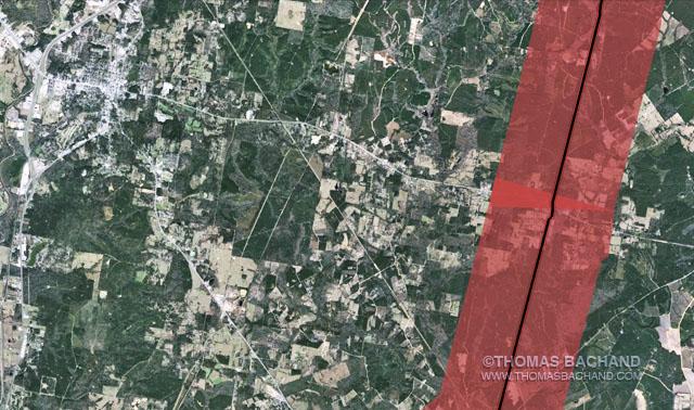 Livingston, TX.  Proposed Keystone XL route. Voluntary Evacuation Zone.