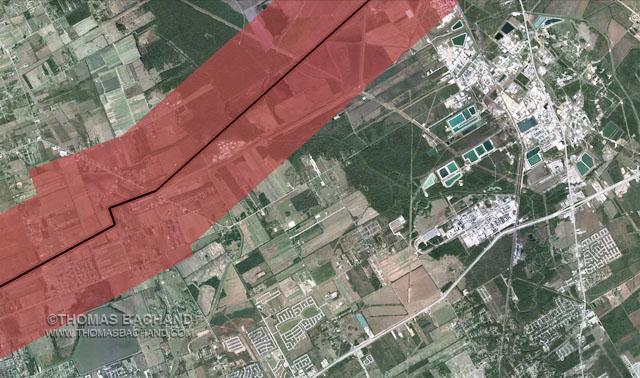 Mont Belvieu, TX.  Proposed Keystone XL route. Voluntary Evacuation Zone.