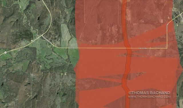 Muddy Boggy Road.  Oklahoma.  Proposed Keystone XL route. Voluntary Evacuation Zone.