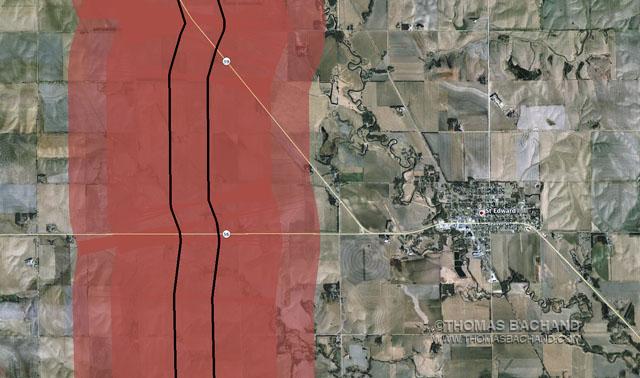 St. Edward, NE.  Proposed Keystone XL route. Voluntary Evacuation Zone.