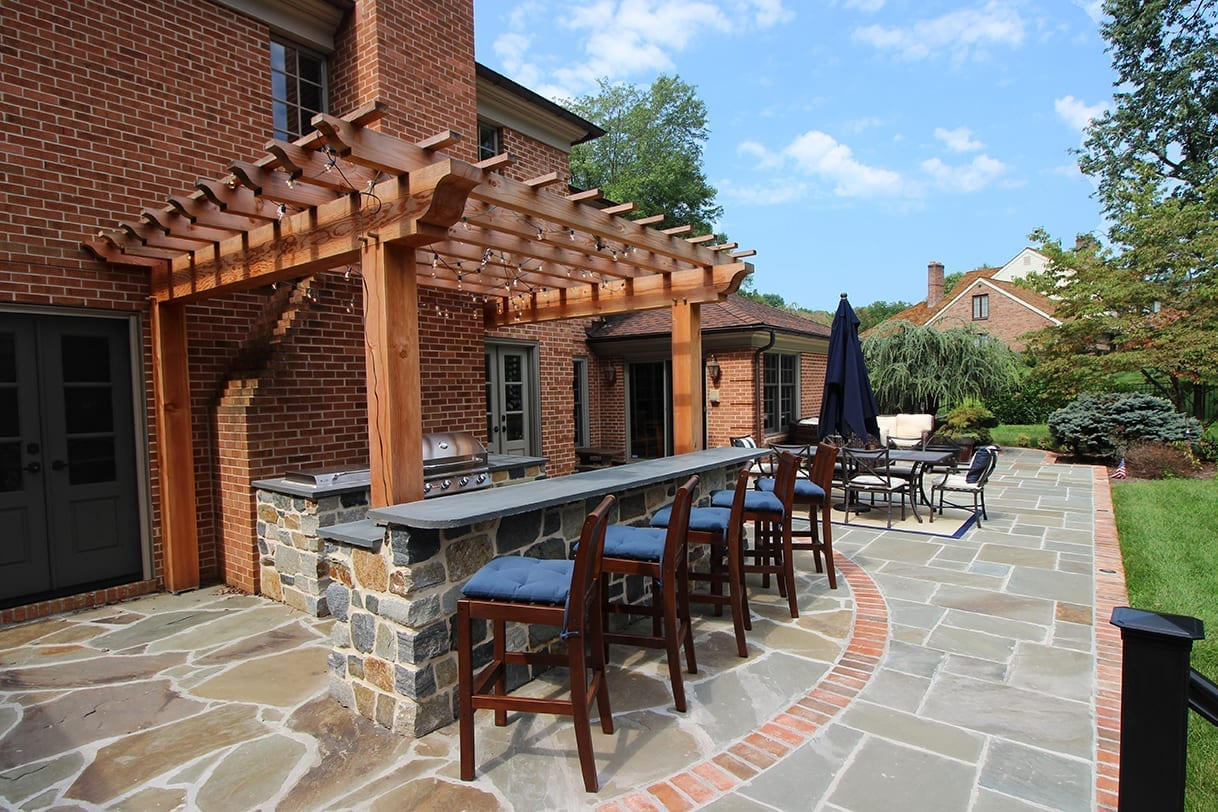 custom flagstone patio pergola