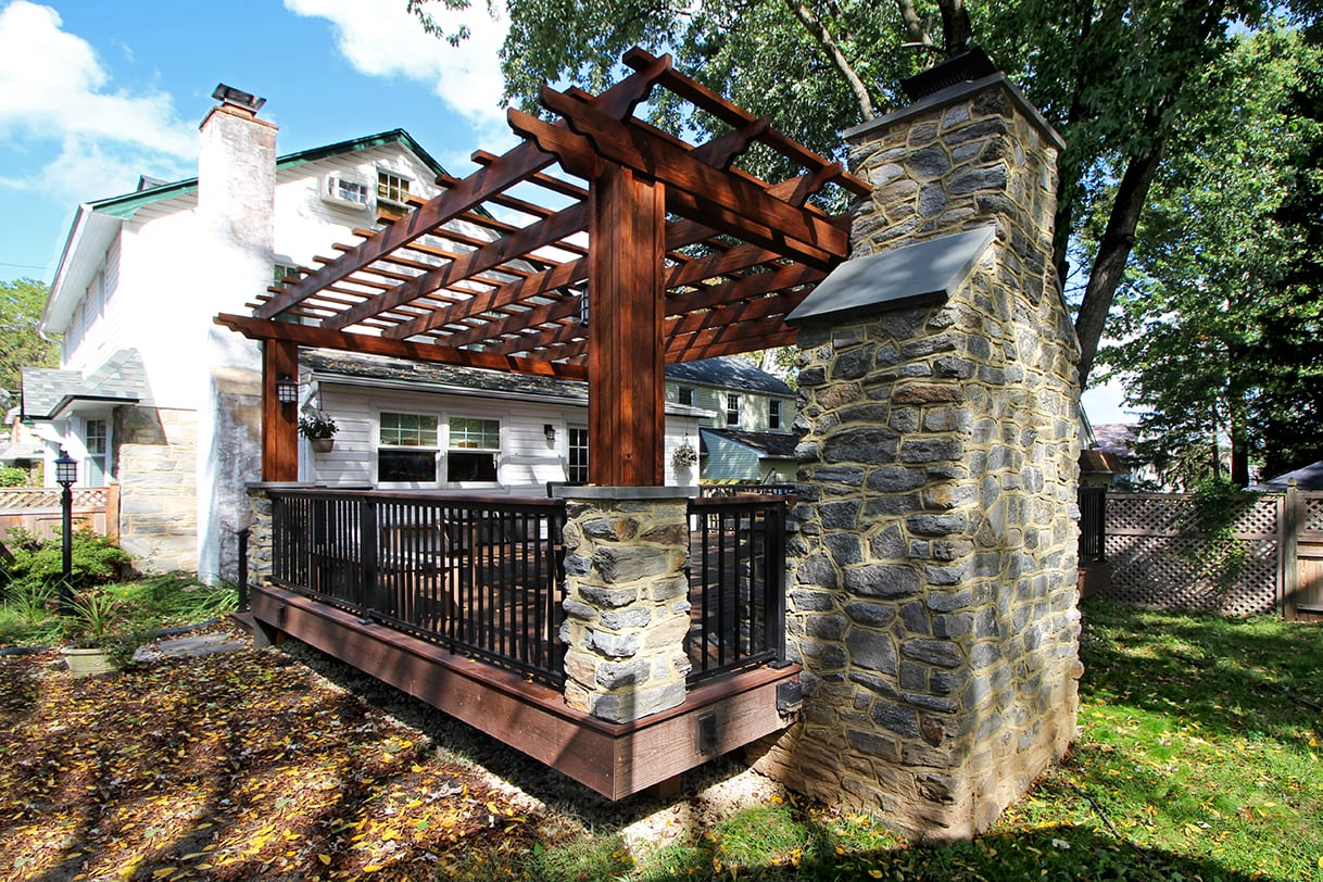 Burning Pressure Treated Wood In Fireplace Image Fireplace And Custom Trex Deck / Pergola - Havertown, Pa | 583 Sq Ft