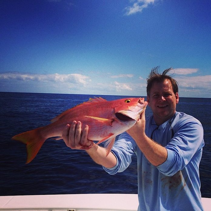 Chris goes eye-to-eye with a yellow eye snapper. Murky waters on the oceanside help with the snapper bite.
