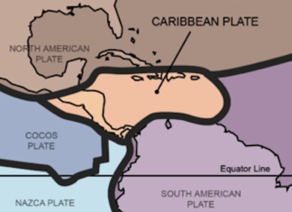A close up of a map - Nazca Plate