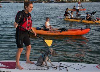 Ginger Zee et al. rowing a boat in the water - Sea kayak