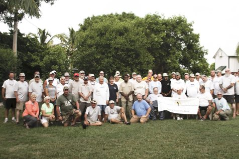 The group includes more than 50 veterans and volunteers who stayed on the island.