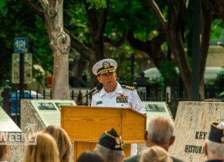 #NeverForget: Mallory Square honors 9/11 tragedy - A group of people in a park - Tree