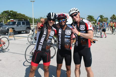 Jose Gomes, Miguel Martinez and Benjamin Levine with Team Storks took the ride from Wilton Manors.