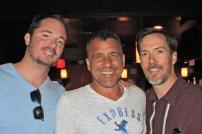Key West Weekly's Britt Myers, Steven Powell and attorney Donald Barrett support Rotary's Menendez Miler.