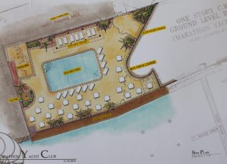 Marathon Yacht Club to add a pool - A close up of a map - Yellow