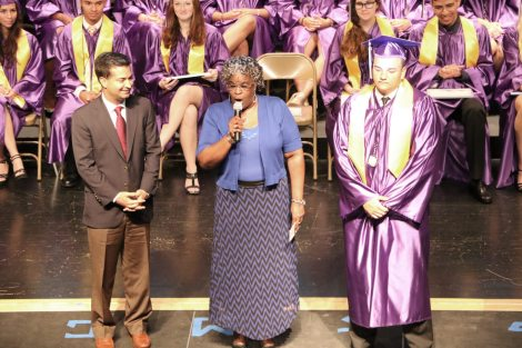 Jackie Williams sings 'The Greatest Love of All' for the graduates. 'Do different, be different, and think different, but most of all love yourselves,' she said. 'Never walk in anyone's shadow.'