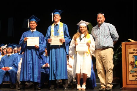 Grads receive awards – Scholarships further seniors' education goals - A group of people posing for the camera - Graduation ceremony