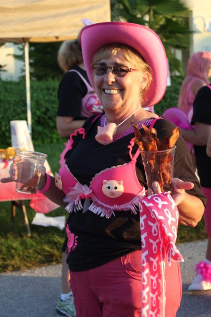 Karen Dennis was a top fundraiser in the individual category. Plus, she directed the 'Bacon Babes' from The Stuffed Pig.
