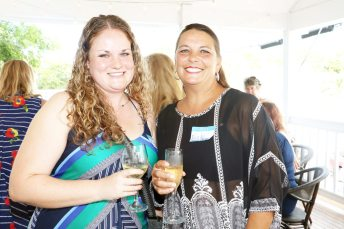 Maggie Evans and Nicky Mawhorter, from Key West Health and Rehab, network with the GNO ladies.