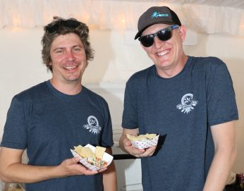 The silly guys from 2 Cents show off their scallop ceviche with corn tortilla chips. They pulled out all the stops for the competition.