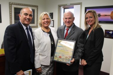 Monroe County Mayor Heather Carruthers presents Florida Senator Alan Hays with an Honorary Conch Certificate at Florida Keys Day. Pictured: County Administrator Roman Gastesi, County Mayor Heather Carruthers, Florida Senator Alan Hays and State Representative Holly Raschein.