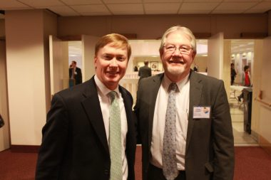 Commissioner of Agriculture Adam Putnam and Monroe County Commissioner George Neugent discuss Monroe County issues at the capital.