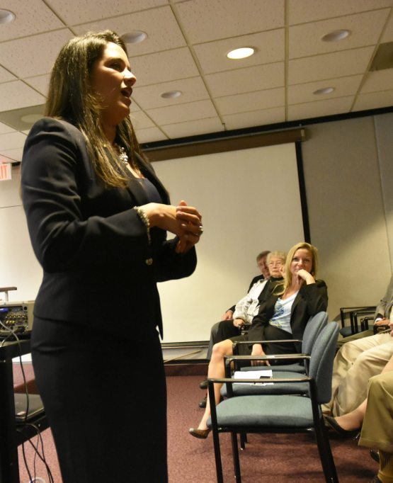 Florida Sen. Anitere Flores, co-sponsor of the Florida Keys Stewardship Act, spoke during Florida Keys Days in Tallahassee as Florida Rep. Holly Raschein, who sponsored the House version of the Act, looks on.