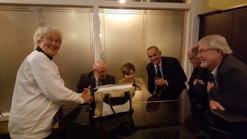 County Commissioners Syliva Murphy, George Neugent, David Rice, Danny Kolhage, along with County Administrator Roman Gastesi, take a moment to unwind at the Governor's Club after a long day of lobbying for the Keys. Mrs. Elise Smith delighted the delegates to some sensational piano playing and vocals.