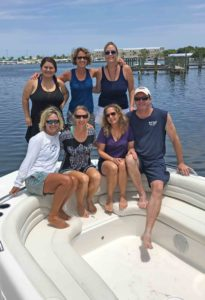 Joe and Michelle join friends and co-workers Victoria, Stacey, Amy G., Kimberly and Capt. Ally for the annual seasonal sendoff to some winter staff at the sandbar.