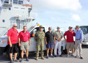 "City officials from Marathon to Key West came together to gather supplies, Chief Johnson Marathon Fire, left, George Garrett Deputy City Manager, Lt. ""Stormy"" Fairweather, Dan Saus, Brad Neat, Marathon City Manager Charles Lindsey, and Key West City Manager Jim Scholl."