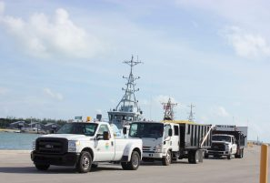 A convoy of city trucks arrived with supplies.