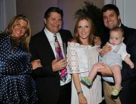 """Dr. Boros is honored at the event. He is seen here with his family Christina, daughter-in-law Gabi, son Aaron and grandson Emmett. Friend Michael Halpern said, """"He always fights for the very best medical care for this community and its patients."""""""