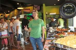 Square Grouper and My New Joint owner Lynn Bell welcomes anniversary guests at the buffet.