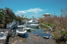 The canal behind Summerland Key businesses looked bleak, but some of these boats may be okay.