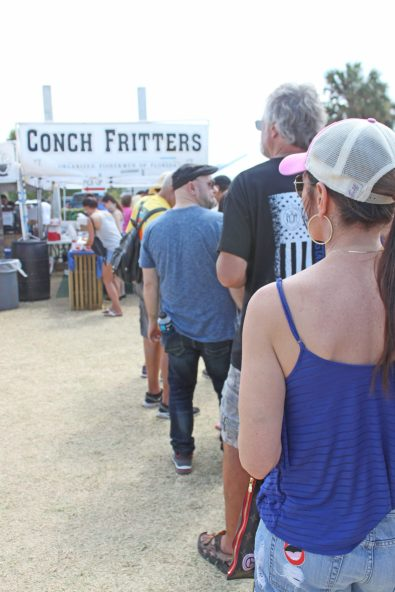 Consistently longish, the line for conch fritters proves the delicacy is a festival favorite.