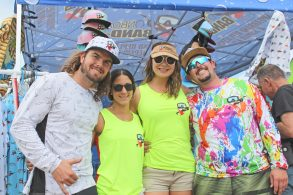 "Plenty of festival goers were sporting Onboard Band-it merch represented by husbands-and-wives owners J.P. McCabe, left, Natalie, ""G,"" and Josh Gratton."