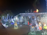Holiday Scene: Holiday Pics From Around the Keys - A group of people riding skis on a snowy night - Christmas lights