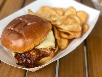 Signature Blind Pig smoked pulled pork sandwich. Belly up! SARAH THOMAS/Keys Weekly
