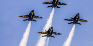 Touching the Sky – Women aviators celebrated at Naval Air Show - A group of fighter jets flying in the air - Air show