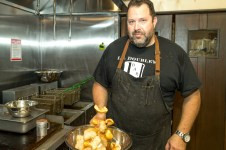 Chef Jeff Victor tossing up some fresh chiccharones hot out of the fryer. LARRY BLACKBURN/Keys Weekly