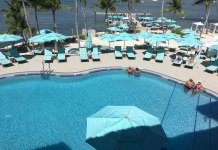A peek inside Key Largo's Luxurious Bungalows - A group of people sitting at a beach umbrella in the water - Florida Keys