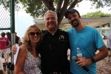 Beth Fanelli, Capt. Don Fanelli and Henry Menendez gather for a photo op.