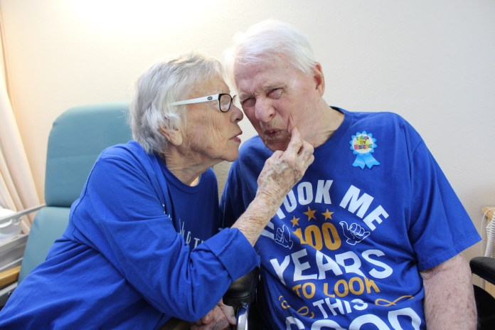 Couple celebrates anniversary, while husband hits 100 years - A man in a blue shirt - Crystal Health & Rehab