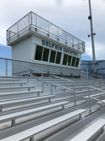 Brand new bleachers surround the very professional press box at MHS.
