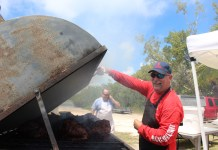 Islamorada Fire Chief Terry Abel grilling.