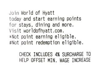 picture of a Hyatt minimum wage receipt