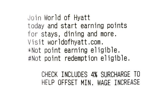 picture of a Hyatt minimum wage receipt