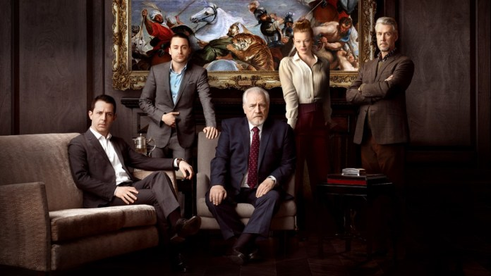 - Jeremy Strong, Kieran Culkin, Brian Cox, Sarah Snook, Alan Ruck sitting on a couch - Jeremy Strong