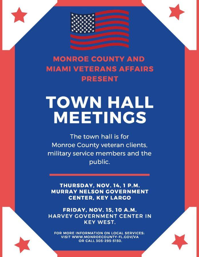 Veteran Town Halls – Nov. 14 (Key Largo) and Nov. 15 (Key West) - A close up of a sign - Banner