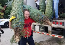 Key West Police Officer Joe Tripp totes two Christmas trees, as Officer Alex Rodriguez and Sunrise Rotarian Jim Scholl continue doling them out to a line of volunteers. MANDY MILES/Keys Weekly