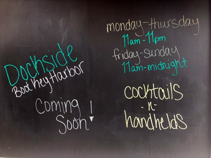 Dockside reopens this week - A blackboard sign on a wall - Calligraphy