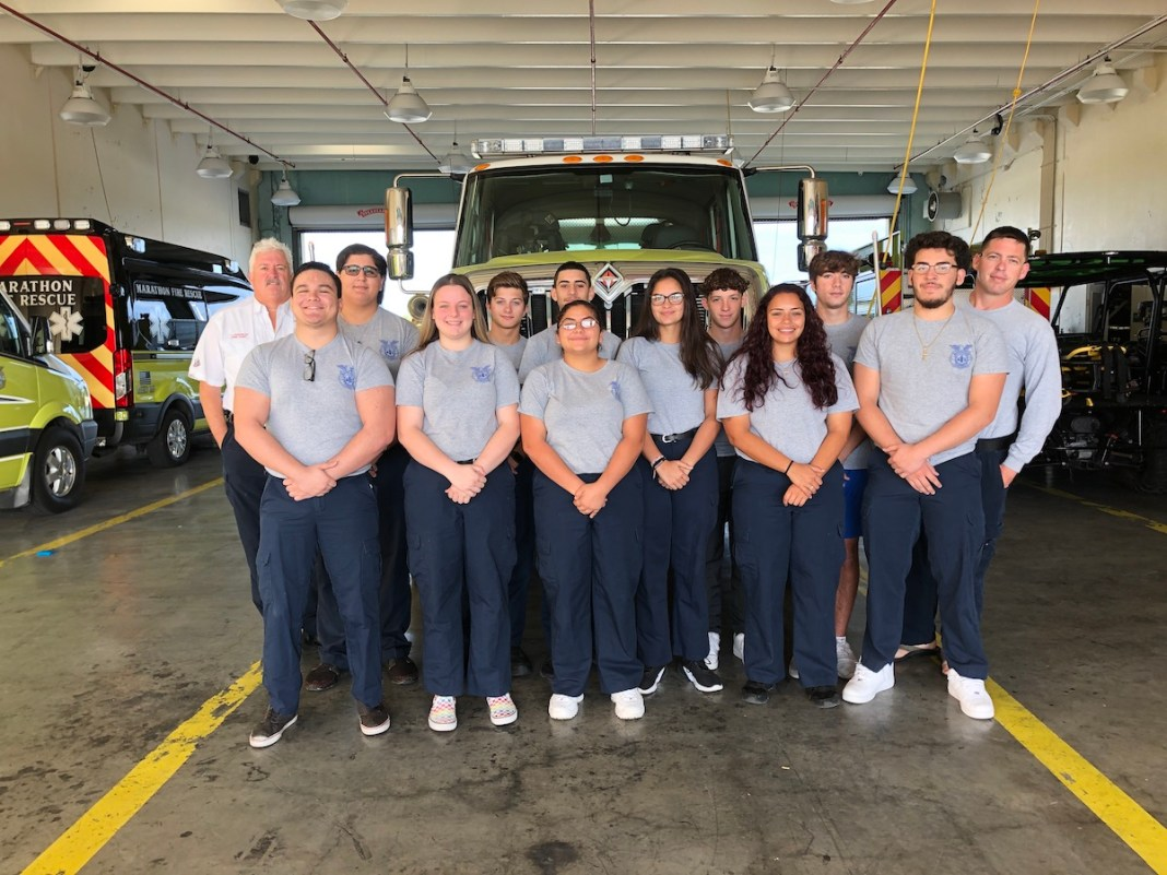 About a dozen students from Marathon High School start their mornings at the Marathon Fire Station. The new program seeks to recruit more locals (long-term) employees for the department. SARA MATTHIS/Keys Weekly