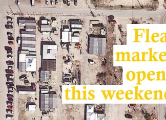 Flea market opens this weekend – Landmark re-energized with new ownership - A sign on the side of a building - Apple pie