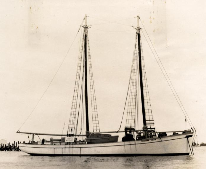 Saving a schooner – Historic flagship limps home to Key West - A large white boat sitting next to a body of water - Western Union